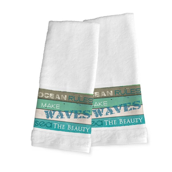 Ocean Rules 100% Cotton Hand Towel (Set of 2) by Highland Dunes